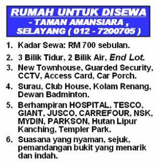 RUMAH UTK SEWA, SELAYANG KL 700 Kuala Lumpur