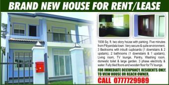 BRAND NEW HOUSE FOR RENT OR LEAS Piliyandala